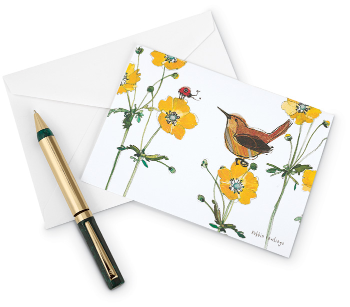 5246: Wren and Flowers Boxed Cards (Set of 15) (Product Detail)
