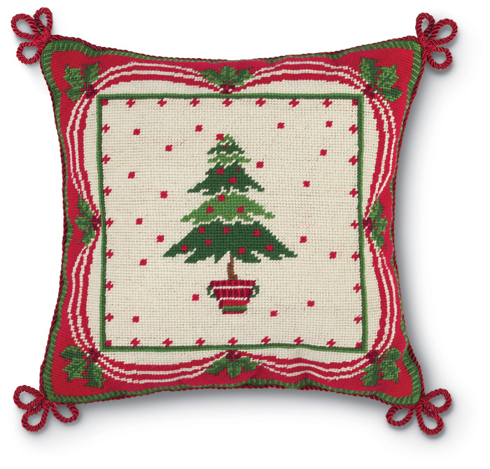 4192: Needlepoint Tree with Ornaments Pillow (Product Detail)