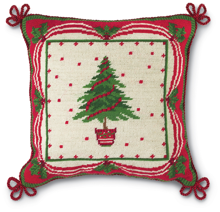 4193: Needlepoint Tree with Garland Pillow  (Product Detail)