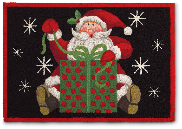 4515: Santa with Present Rug  (Product Detail)
