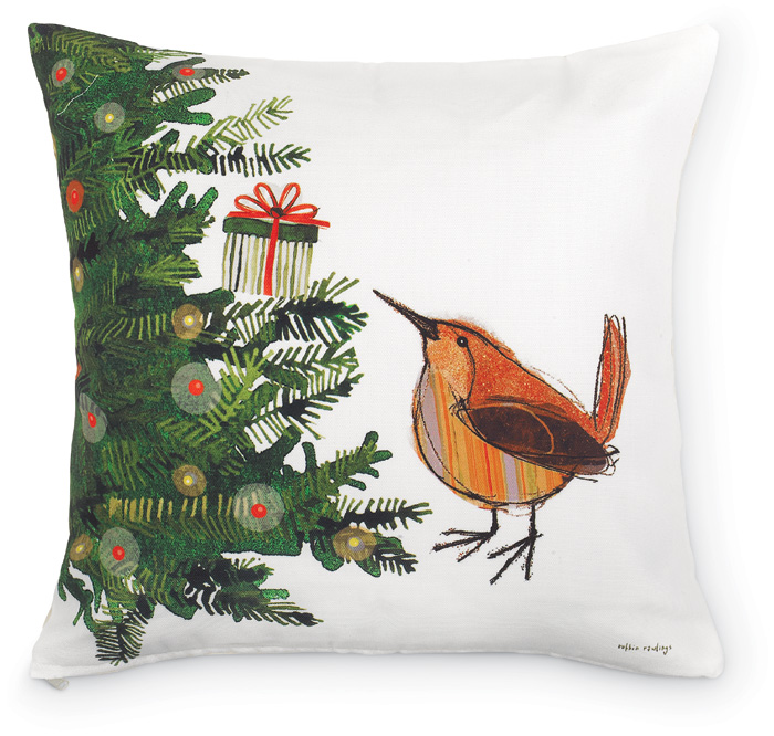 5140: Wren and Christmas Tree  Pillow (Product Detail)