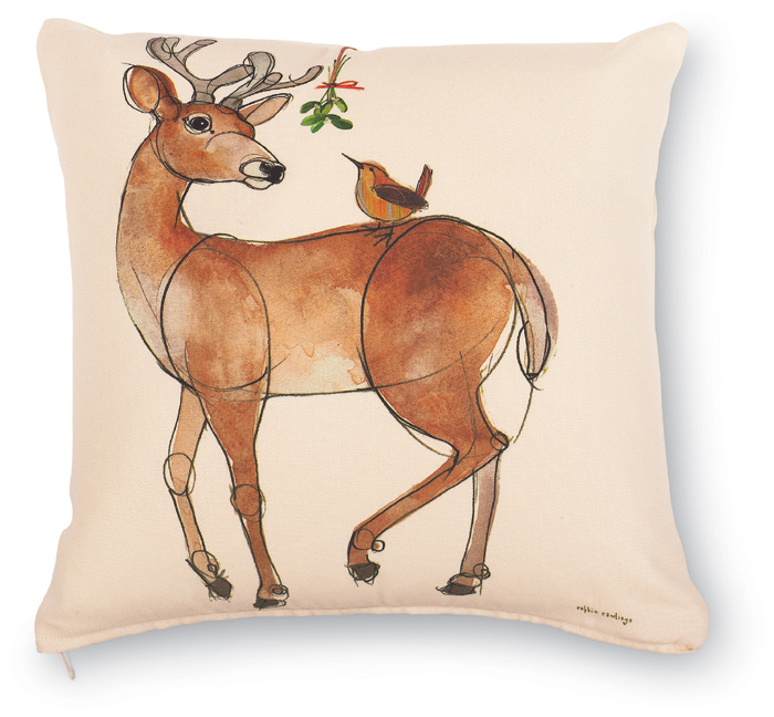 5124: Buck with Wren and Mistletoe Pillow (Product Detail)