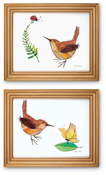 5077: Wren Wall Art / Gold Frame (Set of Two) (Product Detail)
