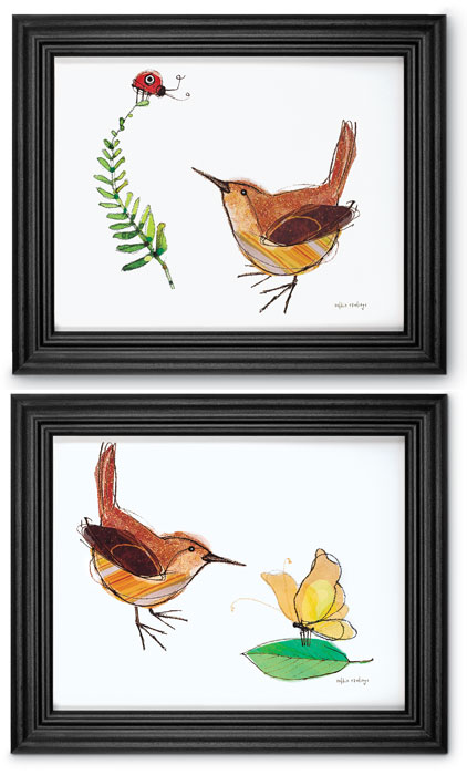 5100: Wren Wall Art /Black Frame (Set of Two) (Product Detail)