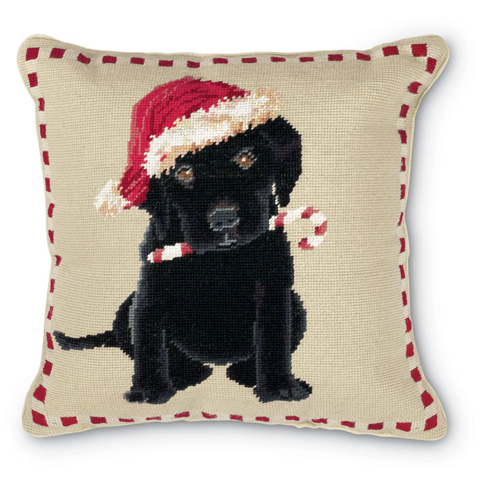 5266: Holiday Black Lab Pillow (Product Detail)