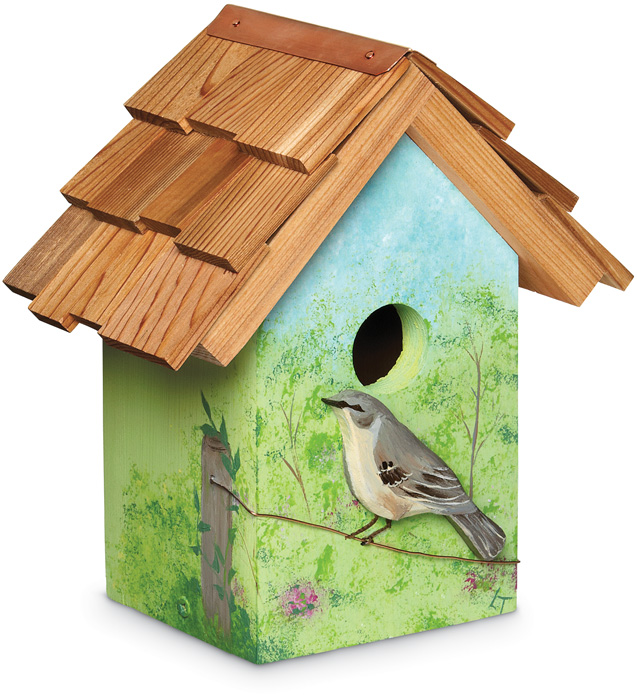 5419: Hand-Painted Mockingbird Cutout Birdhouse (Product Detail)