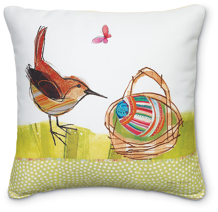5428: Wren and Easter Basket Pillow (Product Detail)