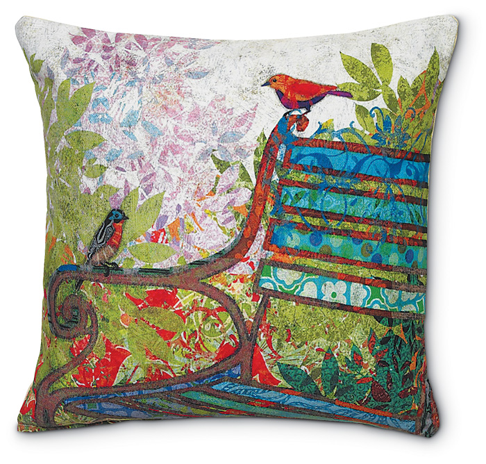 5406: Birds on Garden Bench Pillow (Product Detail)
