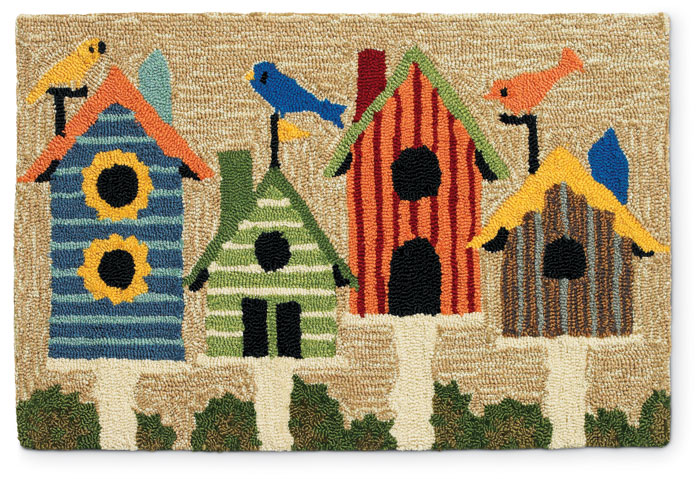 """5479: Birdhouses Rug - 24"""" x 36"""" (Product Detail)"""