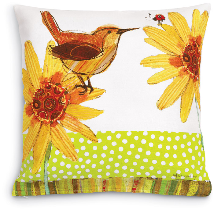 5545: Wren with Ladybug and Flowers Pillow (Product Detail)