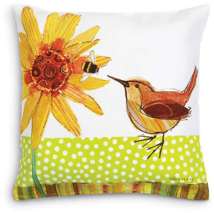 5546: Wren with Bee and Flower Pillow (Product Detail)