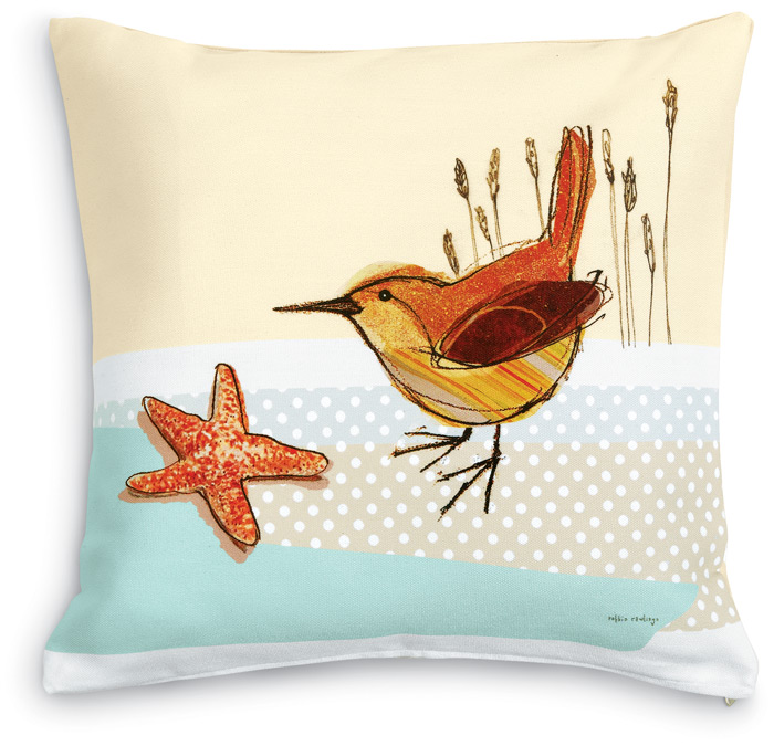 5557: Wren and Starfish Pillow (Product Detail)