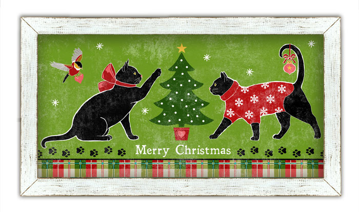 """6182: """"Merry Christmas"""" Meows Wall Art (Product Detail)"""