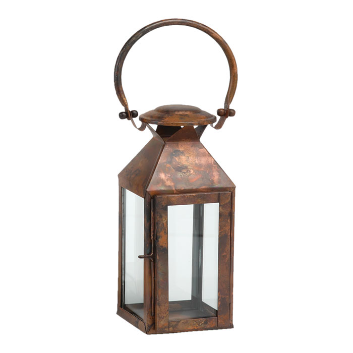 6132: Stainless Steel Lantern with Burnished Copper Finish (Medium) (Product Detail)