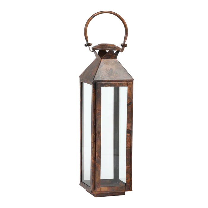 6134: Stainless Steel Lantern with Burnished Copper Finish (Tall) (Product Detail)