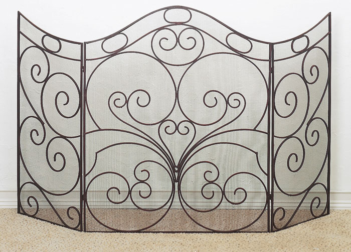 6187: Oversized Brown Iron Fire Screen (Product Detail)