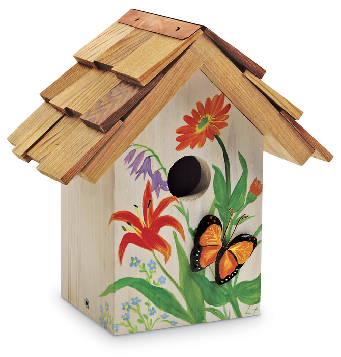 6046: Hand-Painted Butterfly Cutout Birdhouse (Product Detail)
