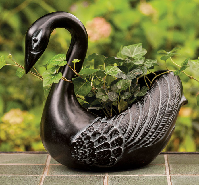 6375: Ebony Swan Planter (Product Detail)
