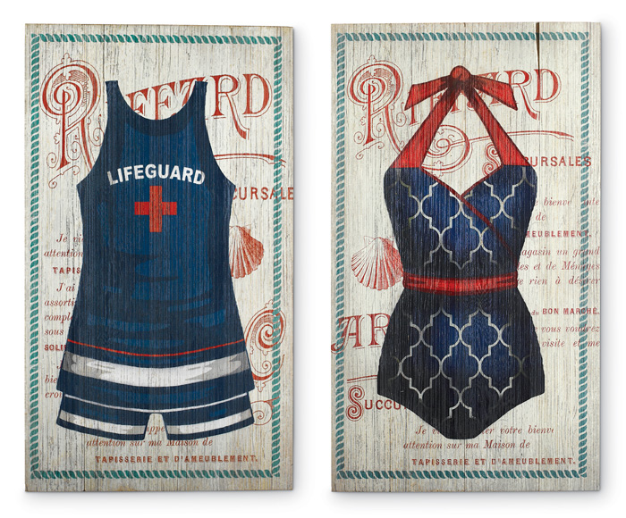6396: Vintage Bathing Suits Wall Art [Set of Two] (Product Detail)