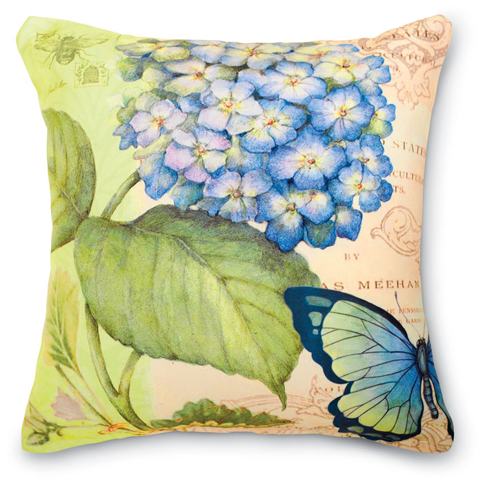 6444: Hydrangea Butterfly Pillow (Product Detail)