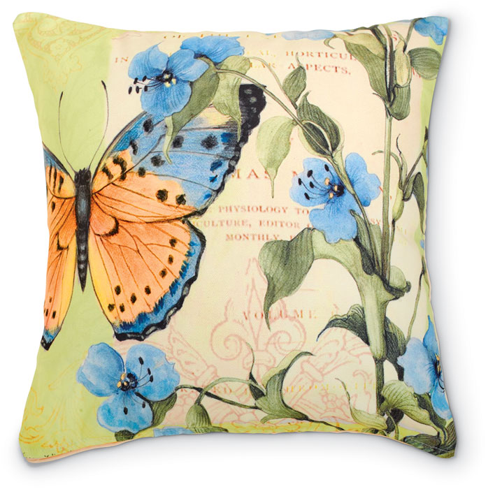 6446: Blue Flowers with Butterfly Pillow (Product Detail)