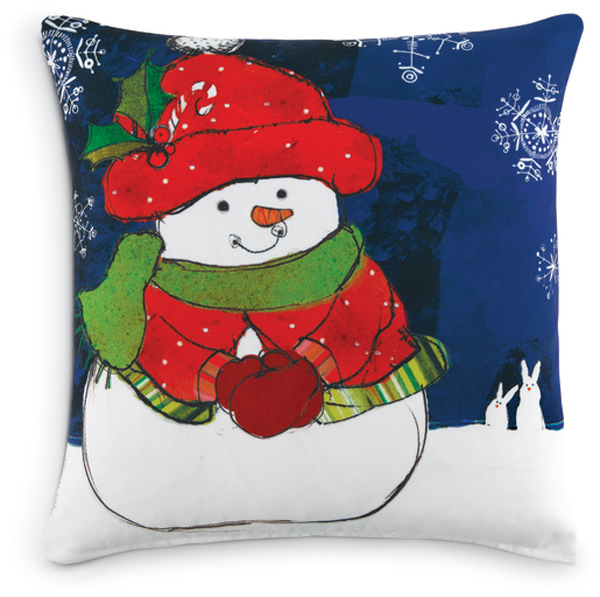 6759: Snowman with Snowflakes and Bunnies Pillow (Product Detail)