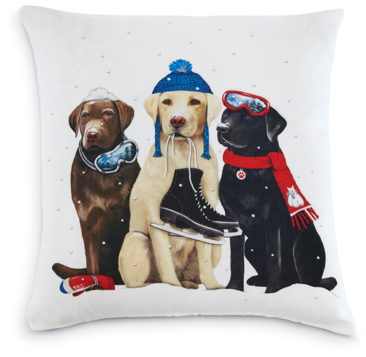 6757: Winter Sports Dogs Pillow (Product Detail)