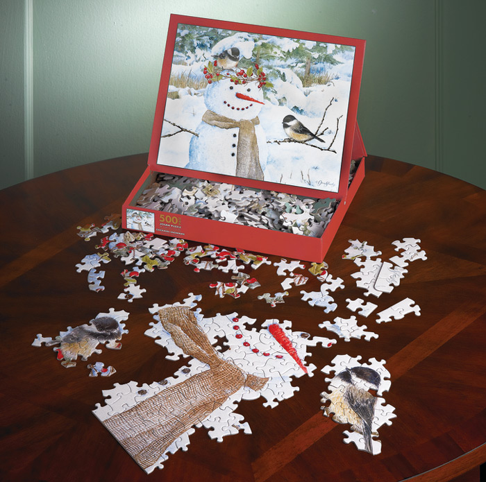 6685: Snowman with Chickadees Puzzle (Product Detail)