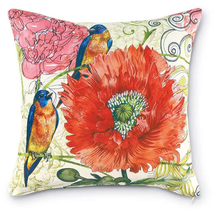 6796: Blue Birds Garden Pillow (Product Detail)