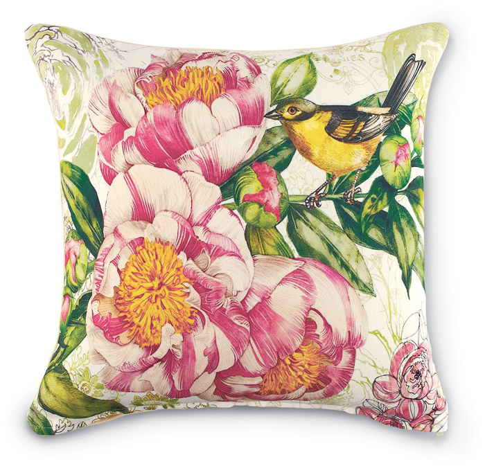 6797: Yellow Bird Garden Pillow (Product Detail)
