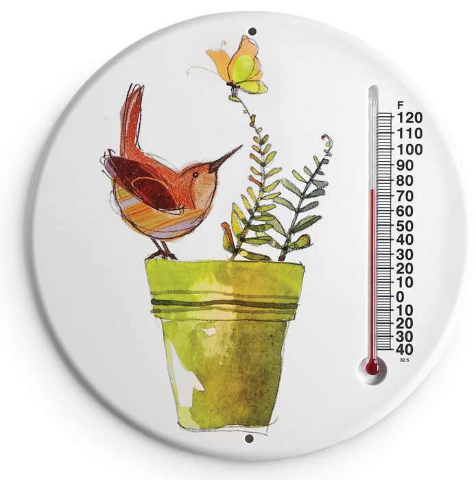6810: Wren and Butterfly Thermometer (Product Detail)
