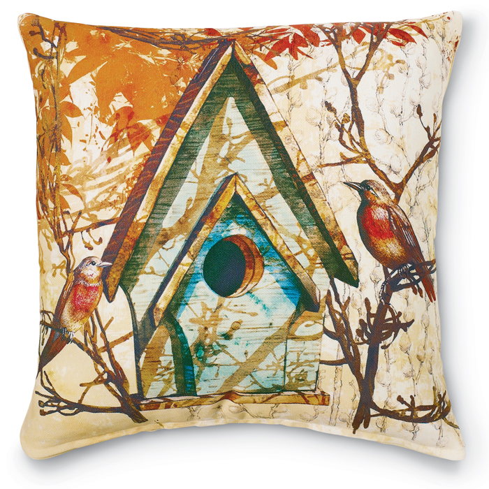 6822: Autumn Birdhouse Pillow (Product Detail)