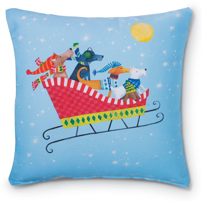 6820: Dogs in Sleigh Pillow (Product Detail)
