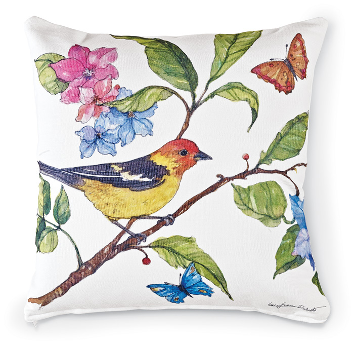 7110: Birds and Blossoms Pillow - Red-Faced Tanager (Product Detail)