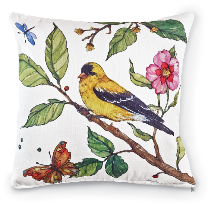 7111: Birds and Blossoms Pillow - Goldfinch  (Product Detail)