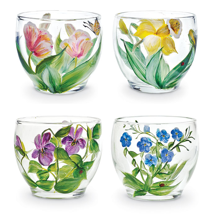 7104: Floral Votives (Set of Four) (Product Detail)