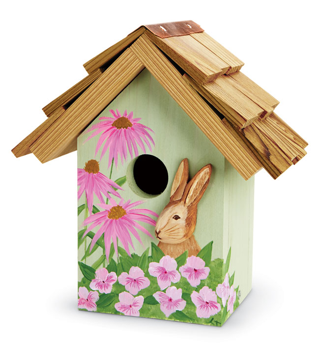 7116: Hand-Painted Bunny Cutout Birdhouse (Product Detail)