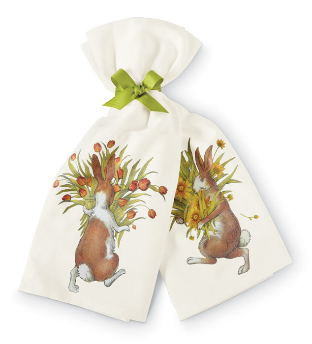 7174: Bunnies with Flowers Flour Sack Towels [Set of Two] (Product Detail)