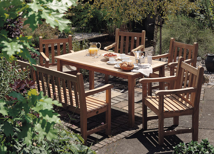7136: Felsted Teak Rectangular Dining Table and Six Armchairs (Product Detail)