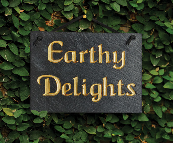 "7196: ""Earthy Delights"" Sign (Product Detail)"