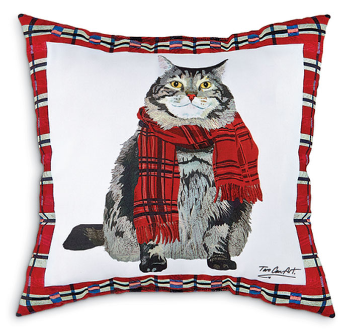 7308: Plaid Cat Holiday Pillow (Product Detail)