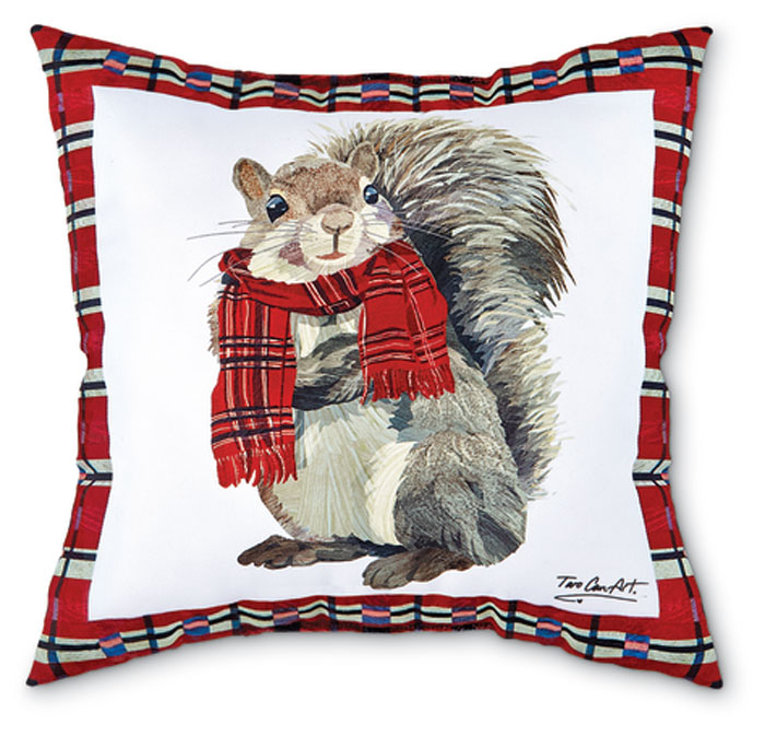 7307: Plaid Squirrel Holiday Pillow (Product Detail)