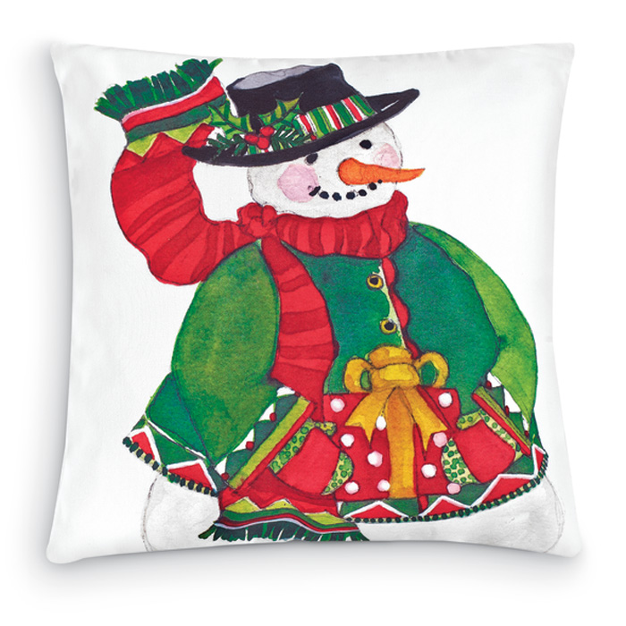 7358: Snowman with Present Pillow (Product Detail)