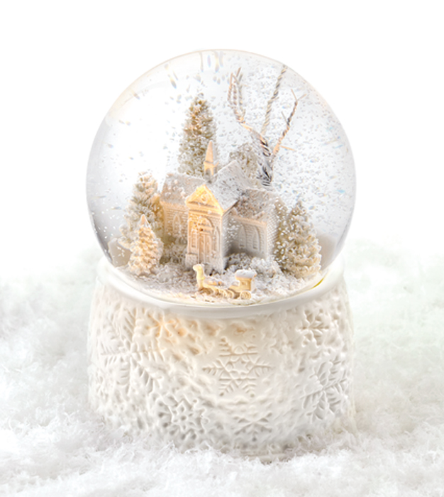 7281: Church with Sleigh Lighted Musical Snow Globe (Product Detail)