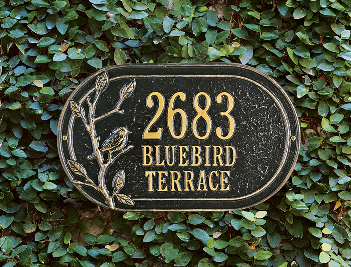 7359: Aluminum Address Plaque with Bird (Product Detail)