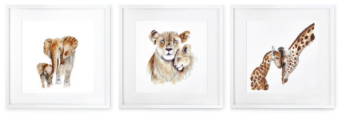 7397: Moms and Baby Animals Wall Art (Set of Three) (Product Detail)