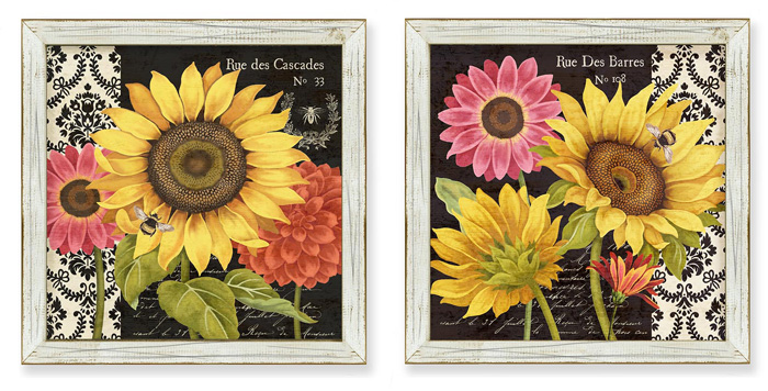 7416: Sunflowers and Bees Wall Art (Set of Two) (Product Detail)