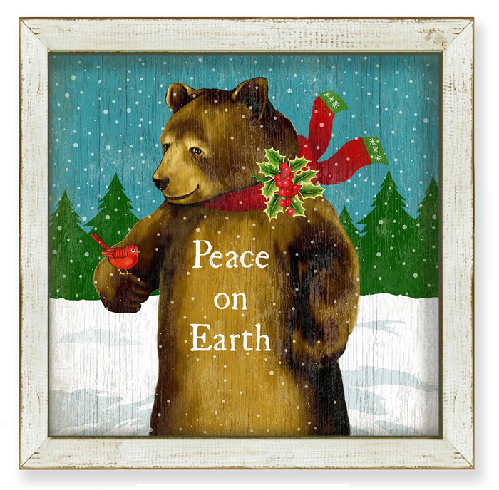 """7418: """"Peace on Earth"""" Brown Bear Wall Art (Product Detail)"""