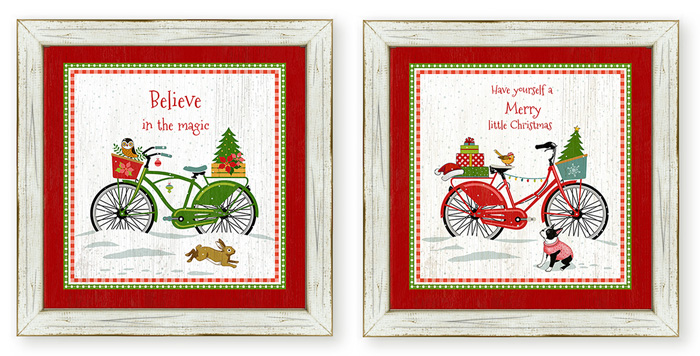 7417: Holiday Bikes Wall Art (Set of Two) (Product Detail)