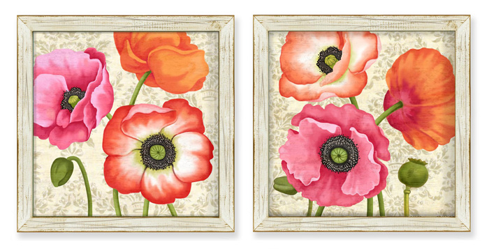 7438: Poppies Wall Art (Set of Two) (Product Detail)